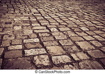 Cobblestone - A cobblestone road in Dublin, Ireland