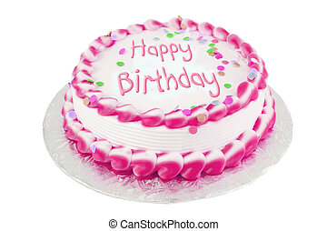 Pink birthday cake - Decorated pink frosted happy birthday...