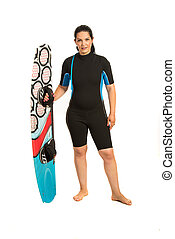 Surfer woman in neoprene suit holding surf board isolated on...