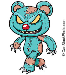 teddy bear - Vector illustration of Evil teddy bear