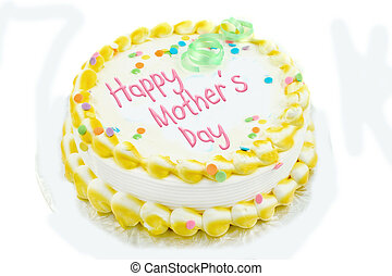 Happy mother\'s day cake in yellow and white frosted...