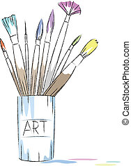 artist paintbrushes drawing in the jar