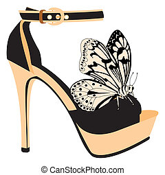 Shoe illustration - Shoe on a high heel decorated with...