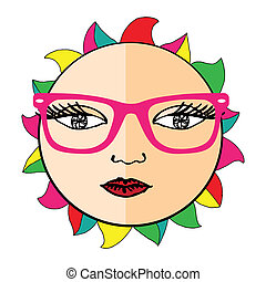 Vivid Sun with glasses on simple white background