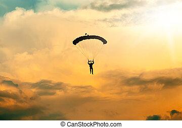 bleu, non identifié, parachutiste, ciel,  Skydiver