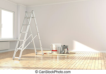 Home renovation - Home Improvement ladder, paint can and...