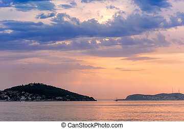 Marmara Sea over sunset, Buyukada, Turkey