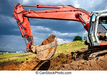 eathmover, industrial digger and excavator working in...