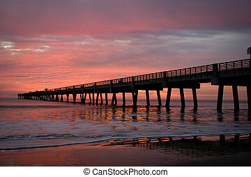 Fishing Pier - Jacksonville Beach Fishing Pier in early...