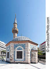 Camii Mosque and Clock Tower (Saat Kulesi) in the central...