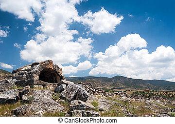 Ancient castle ruins - Pamukkale ancient castle ruins,...