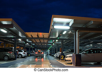 Airport Parking Garage - Inside the parking garage at the...