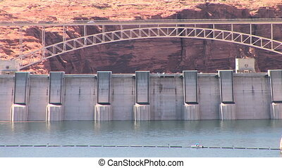Glen Canyon Dam - Bridge over Glen Canyon Dam, Lake Powell,...