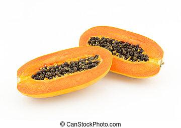 Sliced papaya on white background - Sliced fresh papaya on...