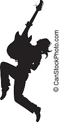 rock star Silhouette - Illustratio - guitarist silhouette on...
