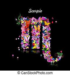 Pattern with butterflies, cute zodiac sign scorpio