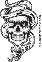Skull With Snake - fully editable vector illustration of...