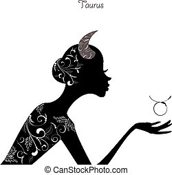 Zodiac sign taurus. fashion girl