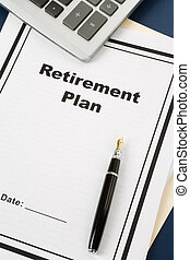 Retirement Plan and pen, business concept