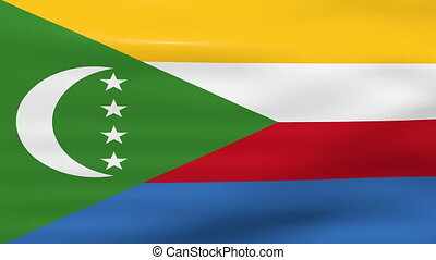 Waving Comoros Flag, ready for seamless loop