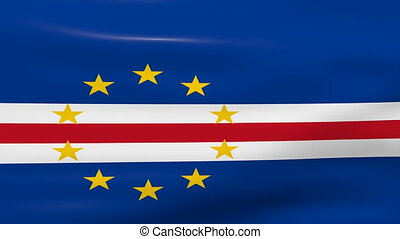 Waving Cape Verde Flag, ready for seamless loop