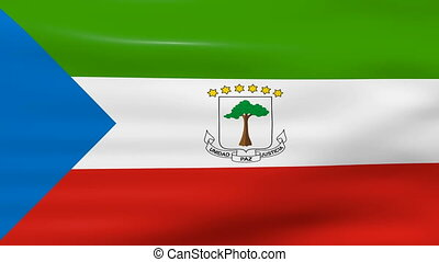 Waving Equatorial Guinea Flag, ready for seamless loop.