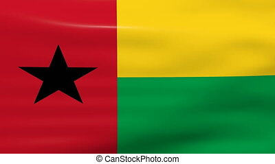 Waving Guinea Bissau Flag, ready for seamless loop.