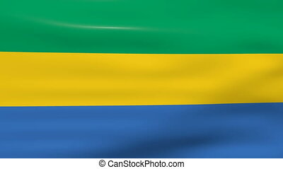 Waving Gabon Flag, ready for seamless loop