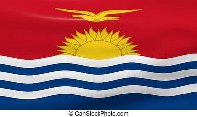 Waving Kiribati Flag, ready for seamless loop