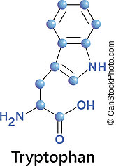 tryptophan - Vector illustration, the chemical formula of...