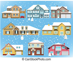 Snow covered city houses - Vector illustration of snow...