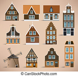 Dutch houses - Vector illustration of colorful simle dutch...