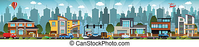 City life - Vector illustration of snow covered city houses