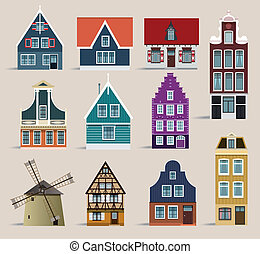 Dutch houses - Vector illustration of simple classic holland...