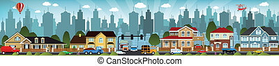 City life - Vector illustration of city life people, cars,...