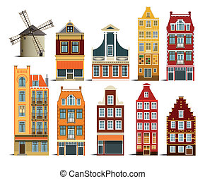 Dutch houses - Vector illustration of simple dutch houses...