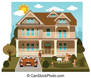 Family house (diorama) - Vector illustration of family house...