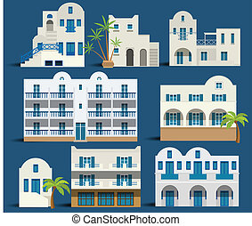 Greek houses - Vector illustration of simple greek houses...