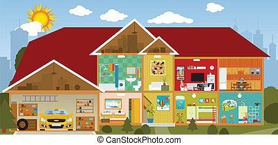 Inside the house - Vector illustration - cross section of...
