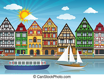 Old town and river - Vector illustration of old european...