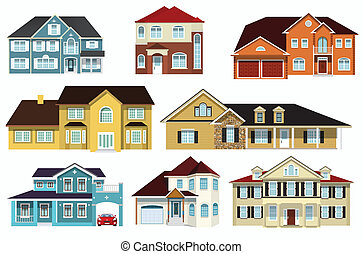 City houses - Vector illustration - simple colorful city...