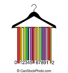 colorful barcode clothes hanger, vector