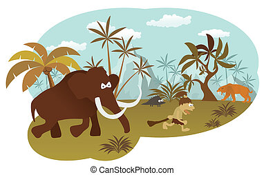World of stone age - Vector illustration of world of stone...