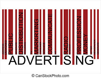 Advertising word concept in barcode
