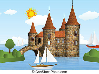 Castle on the river - Vector illustration of castle on the...