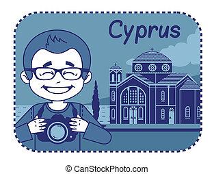 Illustration with Agios Georgios church in Cyprus -...