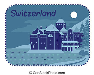 Illustration with Chillon Castle in Switzerland - Vector...