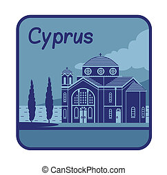 Illustration with Agios Georgios church in Cyprus - Vector...
