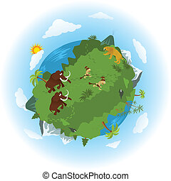 Around the prehistoric world - Vector illustration - around...