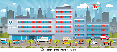 City hospital - Vector illustration of city hospital cars...